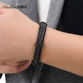 [哈飾奇] 黑色低調  皮手環   送男友生日禮物 龐克真皮新款麻繩編織手鏈【CKL886】單條價
