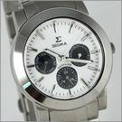 【萬年鐘錶】SIGMA 白黑圈 三眼時尚腕錶 8807M-2