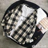 夏季港風襯衫男士格子寬鬆韓版休閒個性黑白襯衣長袖潮流上衣外套 潔思米