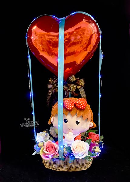 小丸子BABY嗶嗶笛幸福熱氣球,金莎花束/情人節禮物/婚禮佈置/派對慶生,節慶王【Y525274】