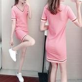 針織連身裙 韓版時尚氣質小個子淑女冰絲針織v領連衣裙女夏季修身顯瘦裙子女 麗人印象 免運