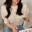衣服.韓系唯美刺繡花朵透膚感泡泡袖上衣.白鳥麗子