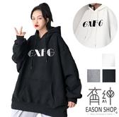 EASON SHOP(GW8931)實拍撞色多色英文字母刷毛加絨加厚落肩寬版加長袖素色棉連帽T恤裙女OVERSIZE