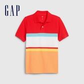 Gap男童時尚撞色短袖POLO衫573660-熱力紅