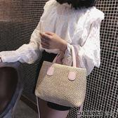 夏天編織手提包女單肩包