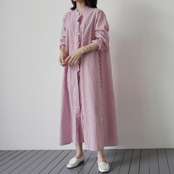 日系棉麻洋裝長裙~8286# 韓版條紋襯衫裙 長款無領寬松斗篷連身裙襯衣DC131衣時尚