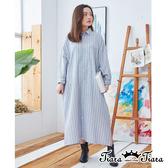 【Tiara Tiara】百貨同步ss 經典條紋長袖洋裝(藍/灰)