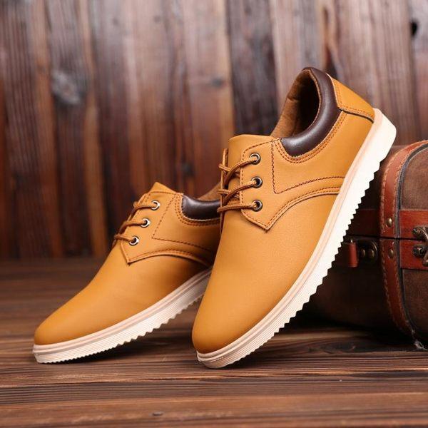 休閒鞋男士防滑工裝鞋春季新款男鞋英倫休閒皮鞋百搭潮板鞋防水工作鞋子 金曼麗莎
