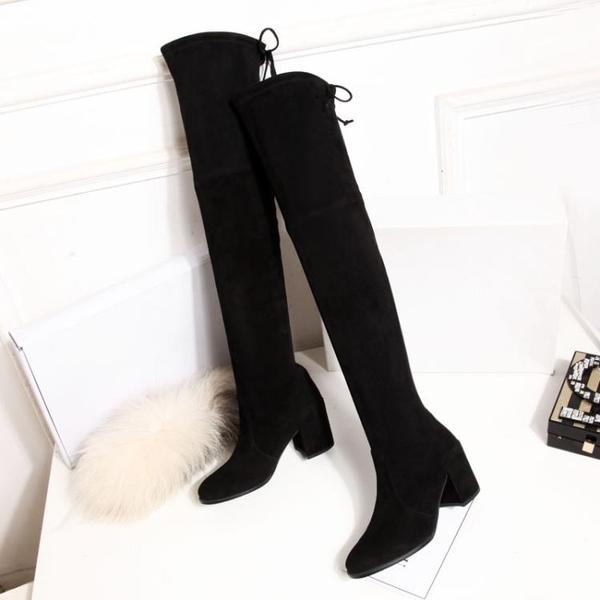 長靴女過膝靴SW彈力顯瘦新品冬季女靴加絨粗跟平跟皮革高筒靴子長筒靴推薦LD