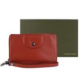 【南紡購物中心】LONGCHAMP LE PLIAGE CUIR系列新款小羊皮手掛式零錢夾(磚紅)