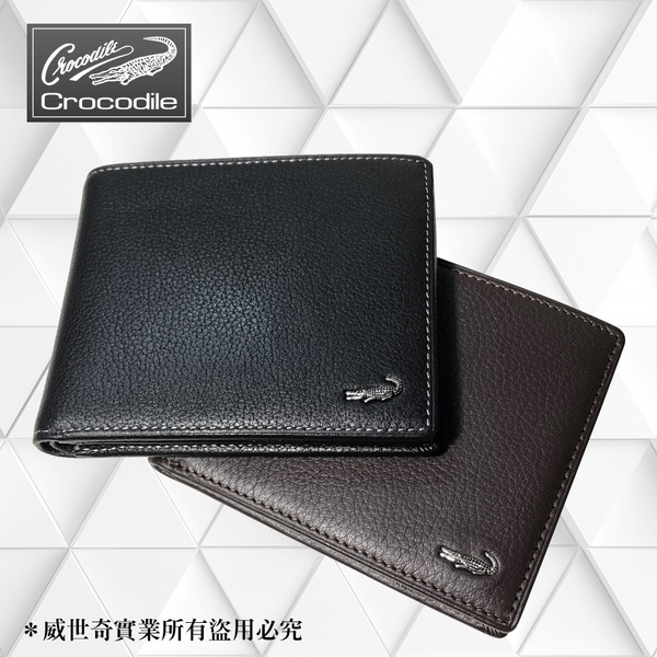 【Crocodile】鱷魚 真皮短夾/男用皮夾/11卡片錢包 (黑色-11021)【威奇包仔通】