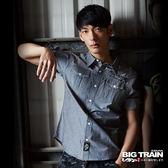 BIG TRAIN 素色配條紋五分袖襯衫-男-灰黑
