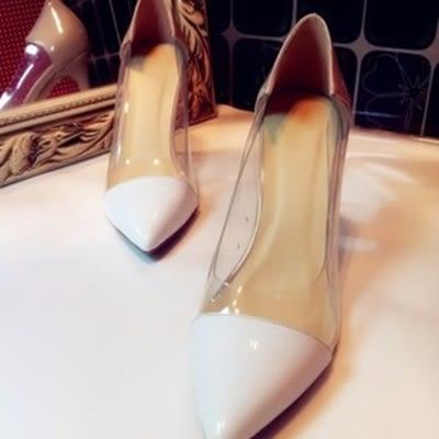 尖頭高跟鞋-尖頭淺口透明設計真皮細跟女鞋子3色73iw9[時尚巴黎]