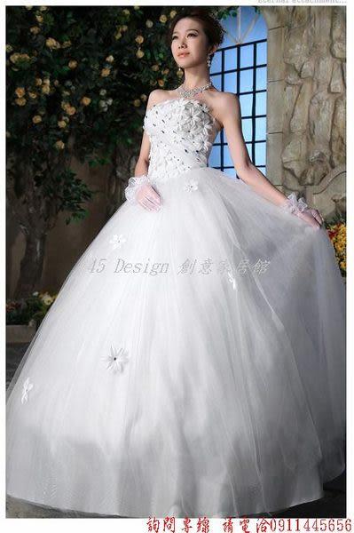(45 Design) 客製化 預購7天到貨  花朵水鑽婚紗禮服 時尚韓版齊地綁帶 新款抹胸婚紗A1347