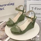 坡跟涼鞋女2020年新款夏仙女風厚底松糕鞋透明一字帶羅馬鞋 LF5665【東京衣社】