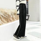 【1111購物節】金絲絨闊腿褲女秋新款韓版高腰休閒長褲寬鬆黑色運動直筒褲子
