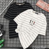 夏裝情侶款短袖t恤女寬鬆韓版潮bf風學生班服半袖條紋海魂衫T桖男color shop