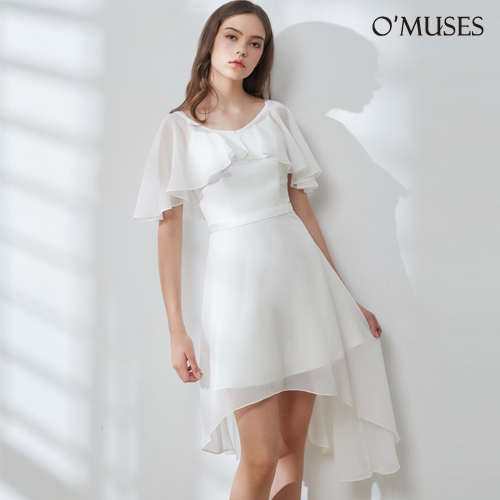 OMUSES 全尺碼*假兩件雪紡前短後長洋裝禮服*