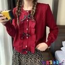 荷葉邊上衣 紅色短款毛衣外套女2021春季新款復古寬鬆蝴蝶結荷葉邊設計感上衣寶貝計畫 上新
