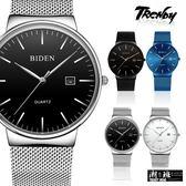 『潮段班』【SB00A001】BIDEN拜登0047男士休閒石英錶 日本機芯不鏽鋼簡約手錶 男手錶自動日期