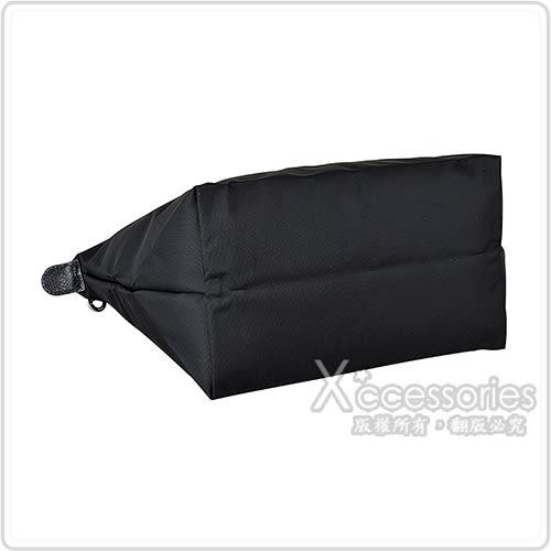LONGCHAMP COLLECTION刺繡LOGO尼龍摺疊短把拉鍊手提包(小/黑x膚)