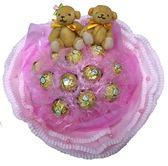 娃娃屋樂園~11朵金莎(捲邊紙)花束+2隻小熊 每束700元/情人節花束/生日禮物/畢業花束/教師節花束