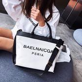 購物包 大包包女包歐美時尚帆布百搭字母側背包大容量斜背手提包【美物居家館】