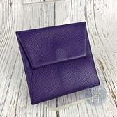 BRAND楓月 HERMES 愛馬仕 口P 紫零錢包 BASTIA 暗釦 皮質 皮革 錢包 小錢包 皮夾 錢夾 經典造型