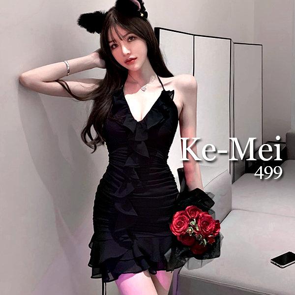 克妹Ke-Mei【ZT68719】SPICY辛辣名媛性感荷葉美胸細肩帶洋裝