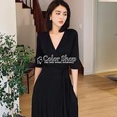 2010年春夏一片式裹身洋裝女V領顯瘦遮肉黑色大碼修復過膝長裙 SUPER SALE 快速出貨