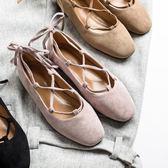 2018春季新款芭蕾舞鞋淺口女鞋復古百搭平底鞋圓頭綁帶單鞋女  無糖工作室