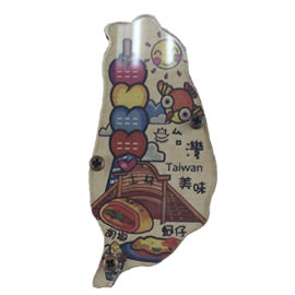 【收藏天地】台灣紀念品*寶島造型木質冰箱貼-台灣美食