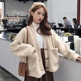秋冬女裝日韓BF風寬鬆加厚雙層仿羊羔毛休閒開衫上衣外套刷毛外套