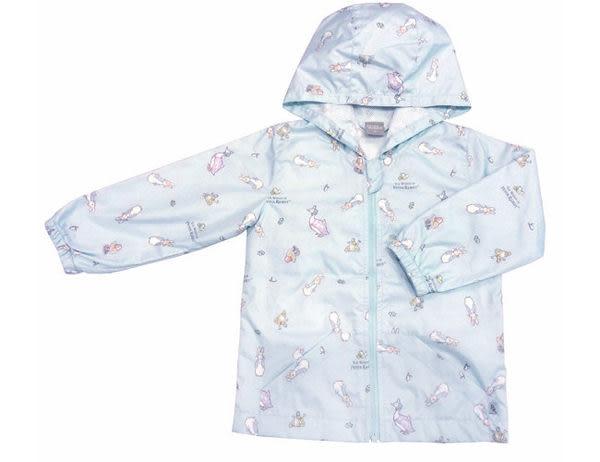 奇哥 比得兔攜帶型防風雨連帽外套-7歲 藍/粉