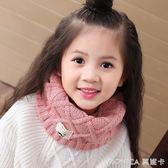韓版兒童圍巾秋冬季節可愛寶寶圍脖男女童針織毛線保暖套頭脖套   美斯特精品