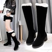 棉鞋女冬加絨長靴女2021新款粗跟長筒靴防滑保暖雪地靴加厚女款 百分百
