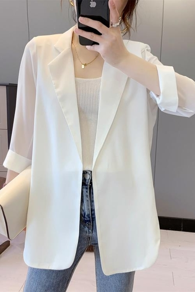 雪紡外套 雪紡小西裝女春夏季白色西服上衣薄款垂感休閒氣質設計感小眾外套 非凡小鋪