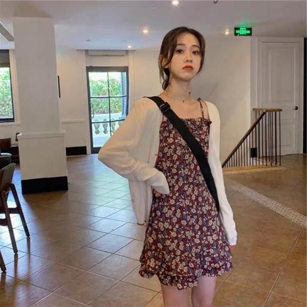 一字肩洋裝 夏季超仙減齡小雛菊碎花洋裝輕熟小香風矮個子顯高兩件套裝短裙 果果生活館