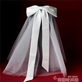 頭紗 韓式新娘短頭紗軟紗帶發梳白色綢緞蝴蝶頭飾結婚紗配飾品網紅款 韓國時尚週 免運