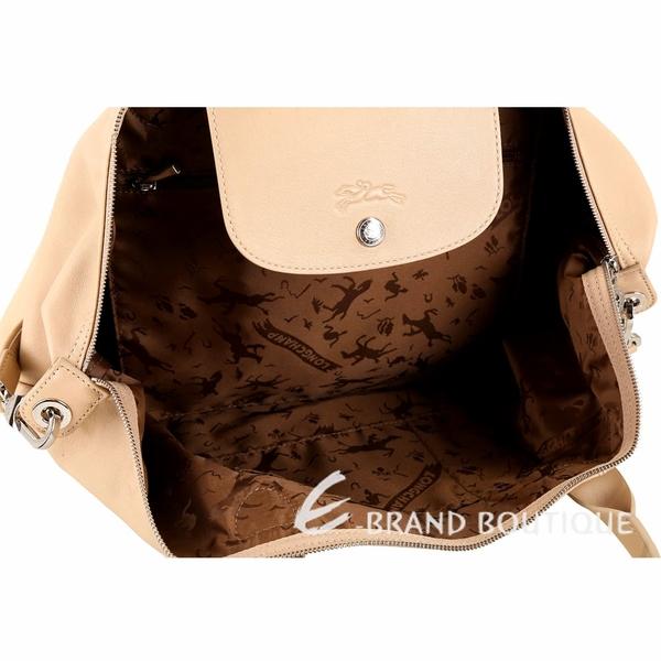 LONGCHAMP Le pliage Cuir 大型短提把羊皮摺疊手提肩背包(米金色) 1410156-32