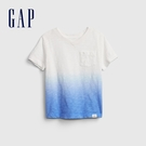 Gap男幼童 輕薄透氣V領短袖T恤 681415-白色漸層