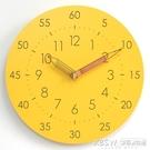 兒童卡通簡約靜音掛鐘錶學習實木質客廳個性時尚創意家用時鐘CY『新佰數位屋』
