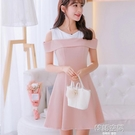大碼韓版短袖百搭洋裝女時尚顯瘦拼接打底裙 韓語空間
