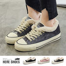 [Here Shoes]加絨冬季帆布鞋學生保暖棉鞋休閒鞋平底厚底保暖時尚─KWA112