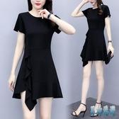 a字洋裝 2020時尚新款高腰短袖小個子黑色連身裙 夏季顯瘦洋氣質裙子 TR1146 『男神港灣』