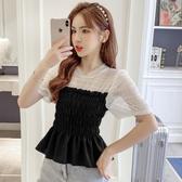韓國網紗拼接收腰襯衣2020夏季新款設計感顯瘦襯衫女小眾泡泡短袖上衣【居享優品】