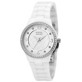 【台南 時代鐘錶 Naturally JOJO】紐約的黑與白 典雅晶鑽陶瓷腕錶 JO96881-80F 白 30mm