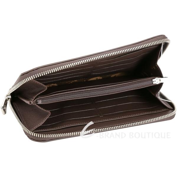 LONGCHAMP Le Pliage Cuir 羊皮銀釦圓弧車縫拉鍊長夾(咖啡) 1710233-07