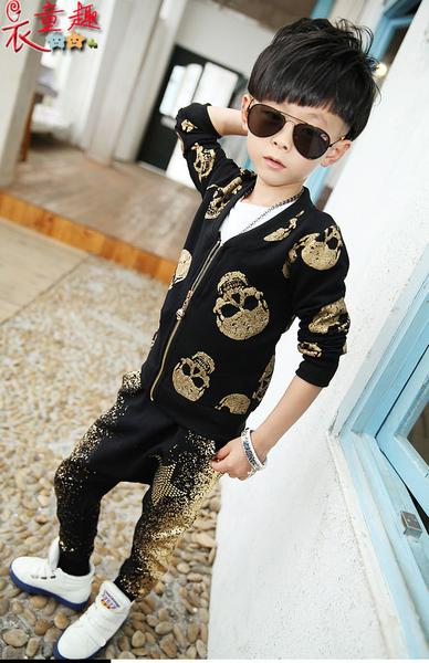 衣童趣 ♥ 韓版 小女童套裝 時尚街頭 金色骷鏤小外套 豹紋燙金短裙 女童套裝【特價現貨清倉】