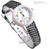 CASIO卡西歐 花漾指針兒童錶 小圓錶真皮錶帶黑白千鳥格紋女錶 LQ-139LB-1B LQ-139LB-1BDF